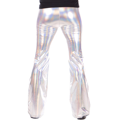 Silver, Shiny, Flare, Psychedelic, Meggings, Leggings, Burning Man, Festival, Clothing, Men, Made in the USA, Revolver Fashion, Los Angeles.