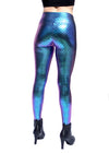 mermaid, blue, purple, fish print, scales, costume, music festival, womens leggings, cute, sexy, clothing legging, made in usa, revolver fashion, coachella, burning man, outfit, spandex