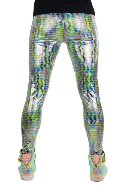 Green Dazzle Tribal Hologram UV Reactive Meggings // Abstract Geometric Black Light Mens Leggings // Festival Outfit & Men's Rave Gear