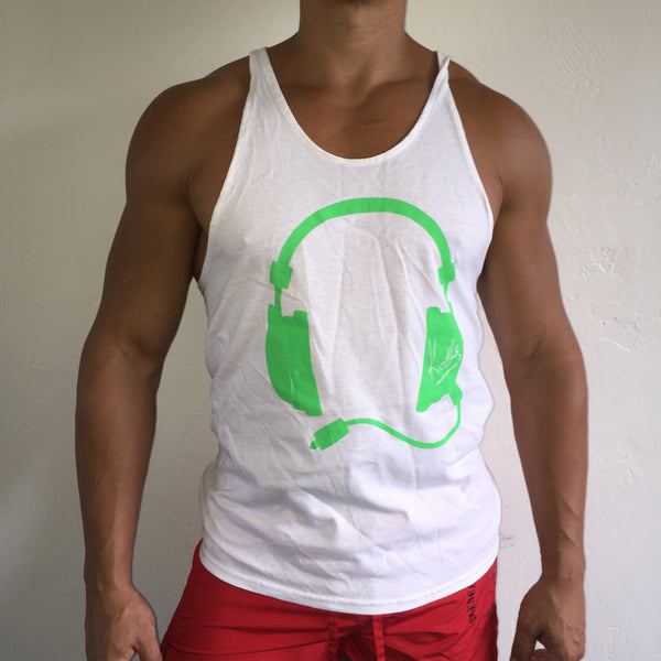 Muscle Tank White / Green