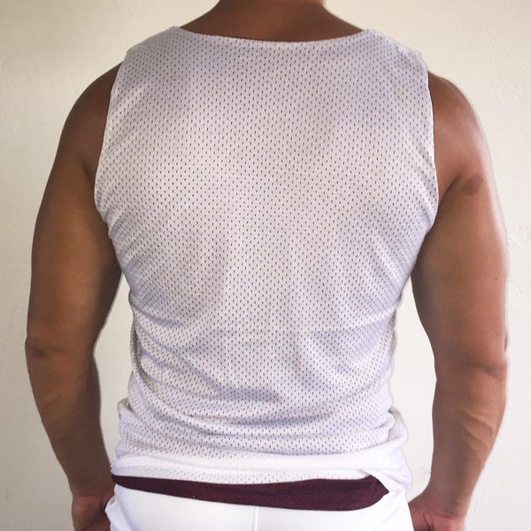 Reversible Tank Burgundy / White / White