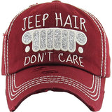 Women's Jeep Hair Don't Care Distressed Baseball Cap Adjustable Hat