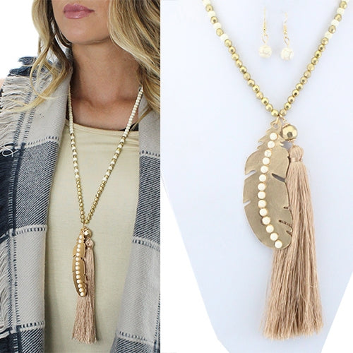 Woman's Feather Charm Tassle Necklace