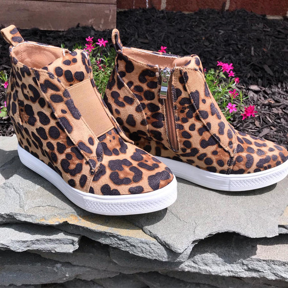 Women's Leopard Zoey Wedge Sneaker Shoe