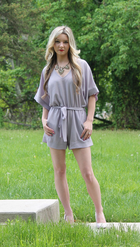 Women's Summer Plum V-Neck Romper