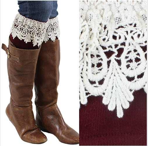 Women's Burgundy Lace Boot Cuff Warmers