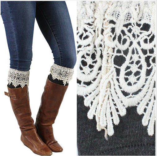 Women's Grey Lace Boot Cuff Warmers