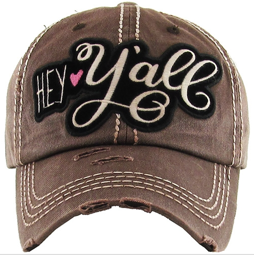 Women's Hey Yall Southern Country Distressed Trucker Cap Adjustable Hat