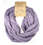 Women's Solid Cable Knit CC Infinity Scarf