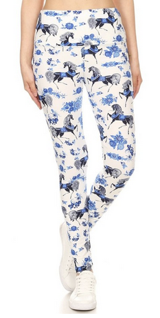 Women's Horse Printed Multi-Colored Soft Leggings