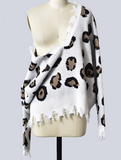 Woman's Take a Walk on the Wild Side Leopard Print Distressed V-Neck Long Sleeve Sweater