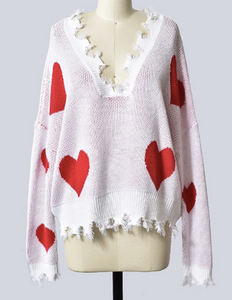 Woman's Heartbreaker Red Heart Print Distressed V-Neck Long Sleeve Sweater