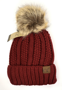 Woman's C.C Solid Fuzzy Lined Fur Pom Beanie Hat