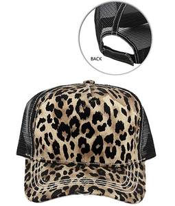 Women's Leopard Cheetah Print Trucker Cap Adjustable Hat