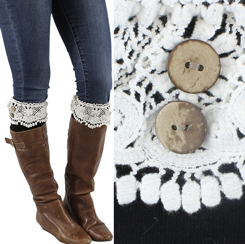 Women's Black Lace Boot Cuff Warmers with Buttons
