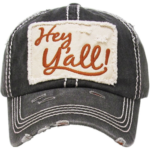 Women's Hey Yall Southern Country Distressed Adjustable Baseball Hat Cap
