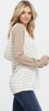 Women's Solid Raglan Sleeve Striped Criss Cross Long Sleeve Sweater Top