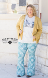Women's Crazy Train Teal Rodeo Rags Paisley Bell Bottoms