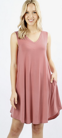 Women's V-Neck Pocket Sleeveless Round Hem A-Line Dres