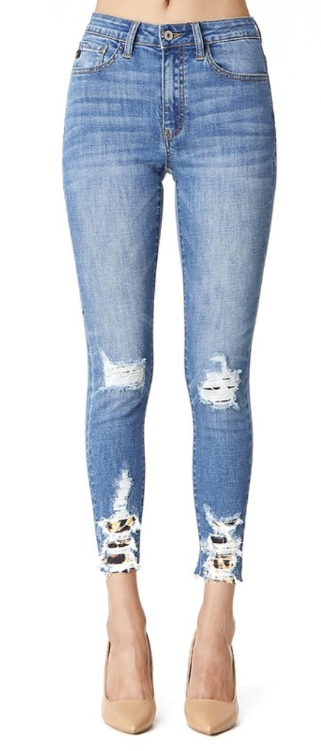 Woman's Kancan Distressed Leopard Cheetah Ankle Skinny Jeans