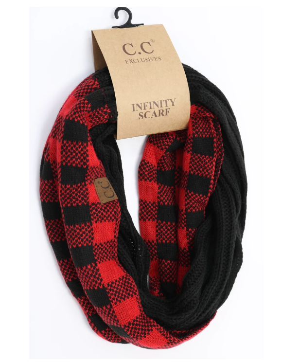Women's Buffalo Check Plaid Print CC Infinity Scarf