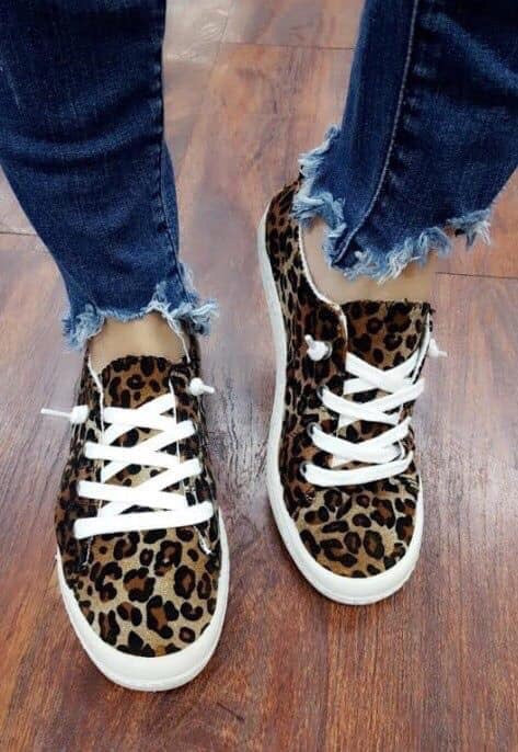 Women's Leopard Canvas Shoes Slip On Sneakers
