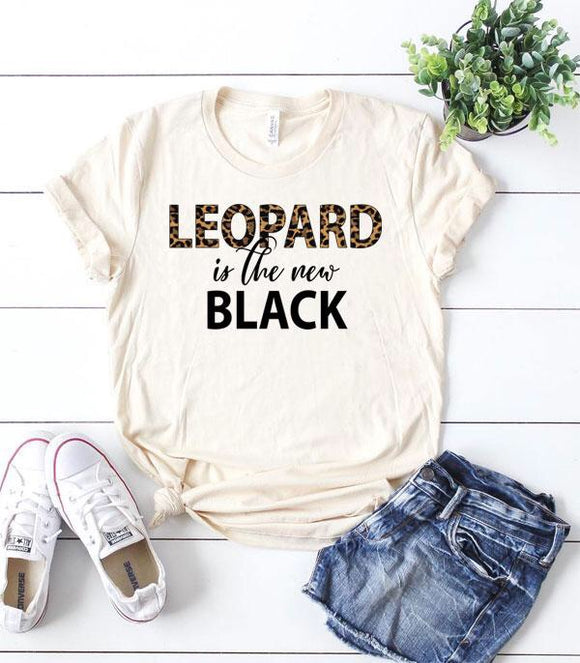 Women's Leopard is the New Black Short Sleeve Tee T-shirt Top