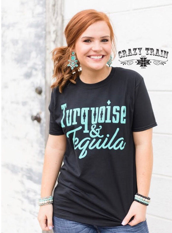 Women's Crazy Train Black Short Sleeve Tee Top Turquoise & Tequila
