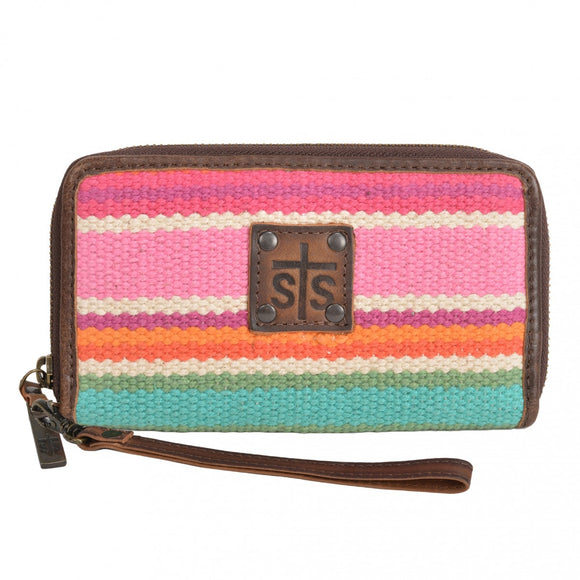 STS Ranchwear Cactus Serape Leather Wristlet
