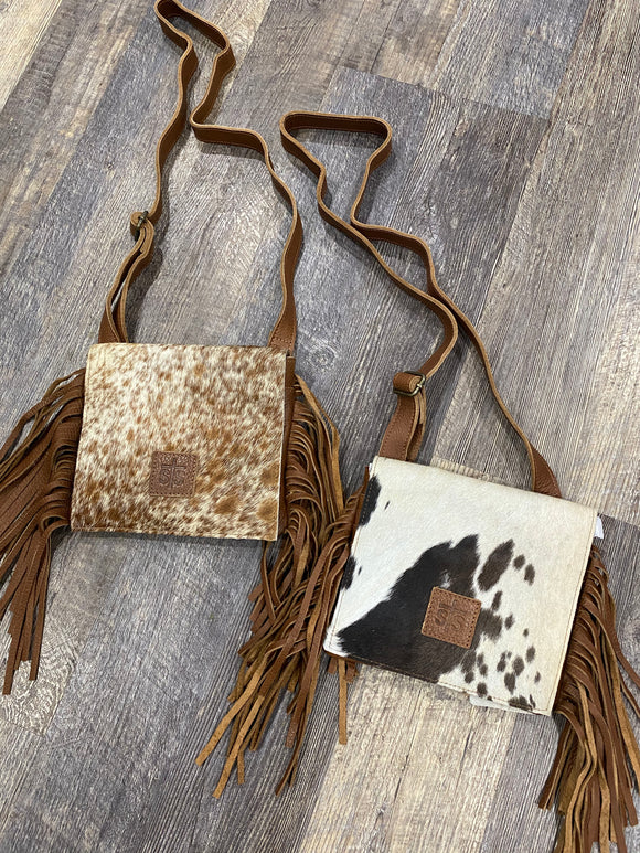 STS Ranchwear Cowhide Miss Kitty Fringe Crossbody Bag