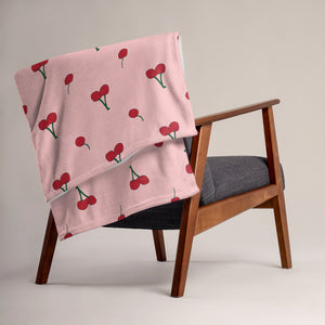 Cherry All Over Print Throw Blanket