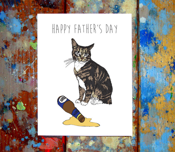 Cat Spilled Beer Father's Day Greeting Card
