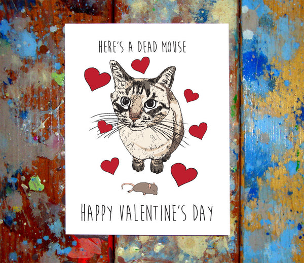 Cat Dead Mouse Present Valentine Card
