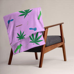 Weed Leaf, Pipes, Blunts, Bongs, & Joints All Over Print Throw Blanket - Pink