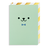 Green Teddy Face New Baby Card