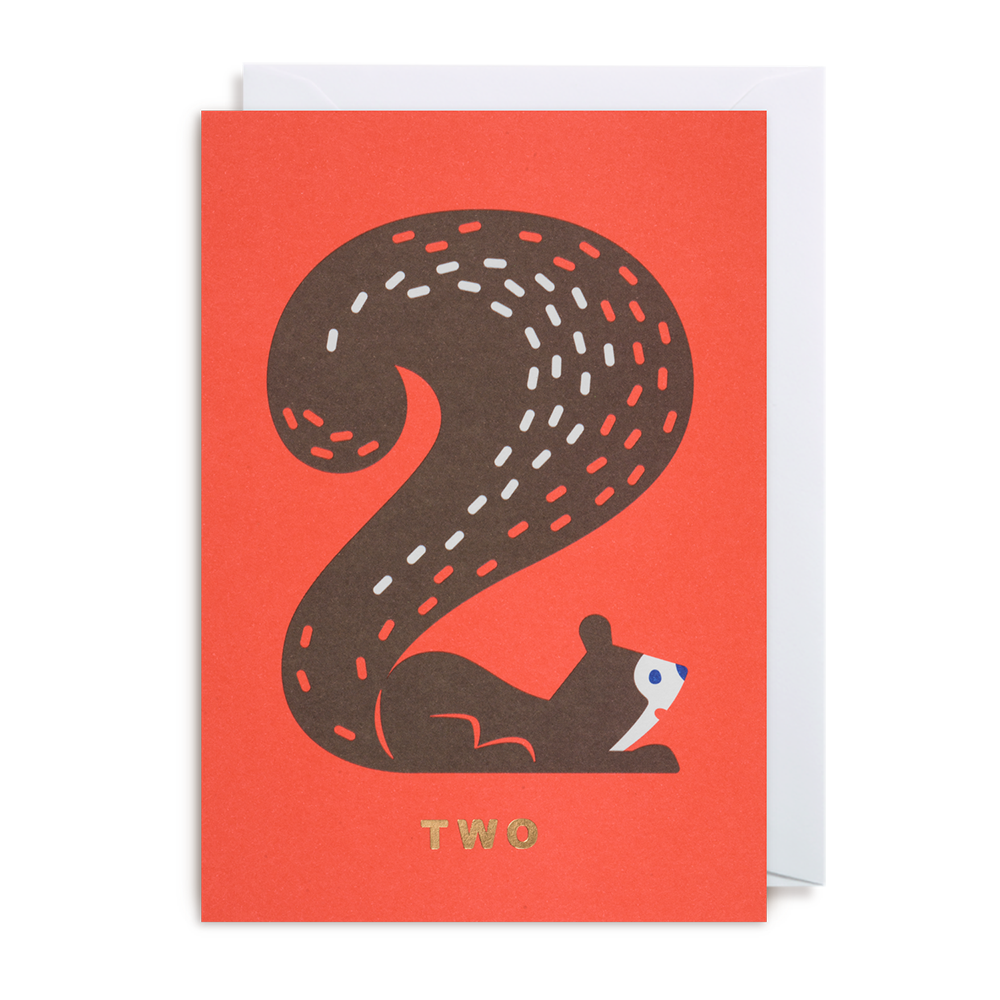 NUMBER TWO SQUIRREL CARD