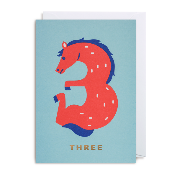 NUMBER THREE HORSE CARD