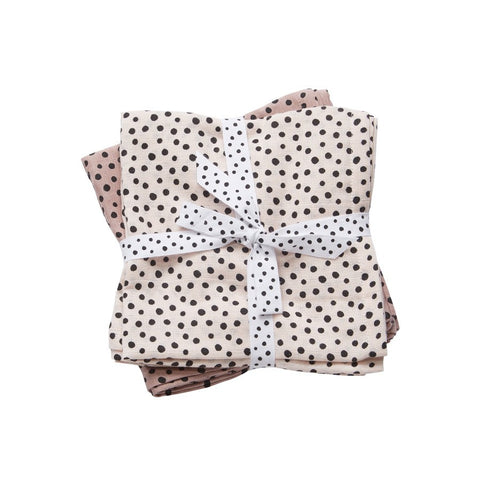 Happy Dots Burp Cloth 2 Pack | Powder Pink