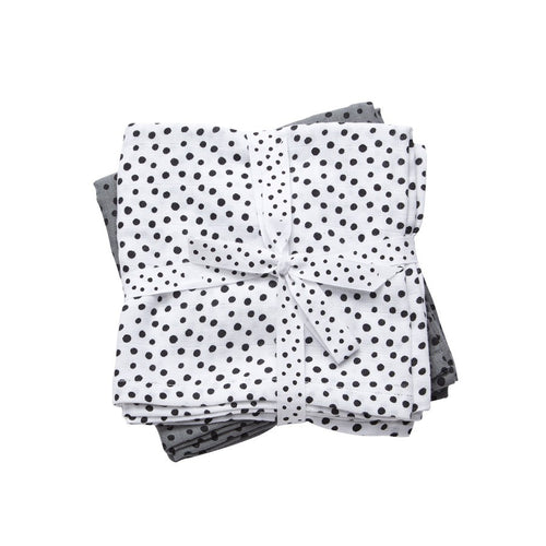 Happy Dots Burp Cloth 2 Pack | Grey/White