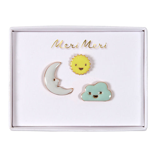 Sun, Moon & Cloud Enamel Pins | Meri Meri