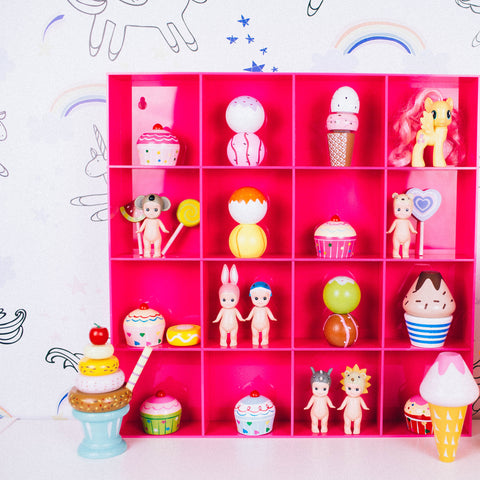 SQUARE ACRYLIC DISPLAY SHELF PINK