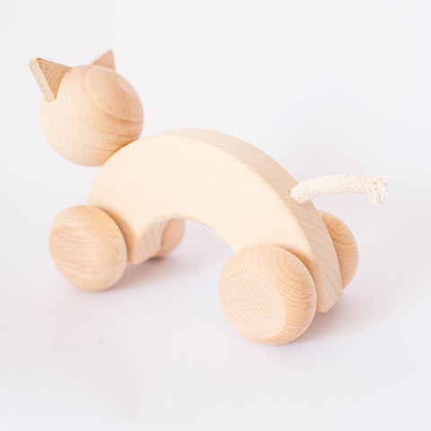 Push Along Wooden Cat