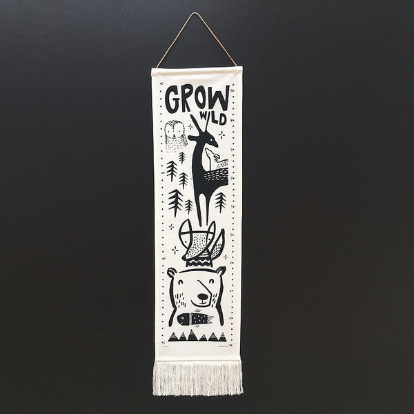 Wee Gallery Woodland canvas growth chart