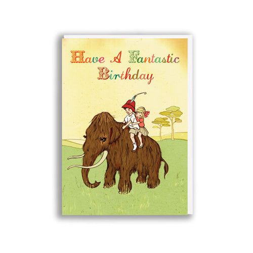 BELLE AND BOO MAMMOTH BIRTHDAY CARD