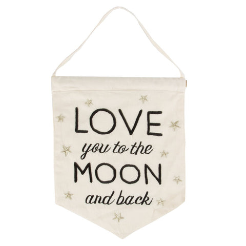 Love You To The Moon & Back banner flag by Sass & Belle