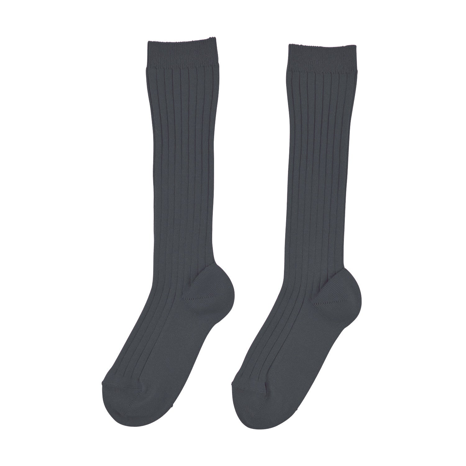 Knee High Ribbed Socks | Anthracite