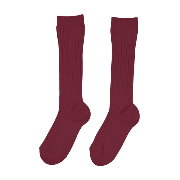 Knee High Ribbed Socks | Burgundy