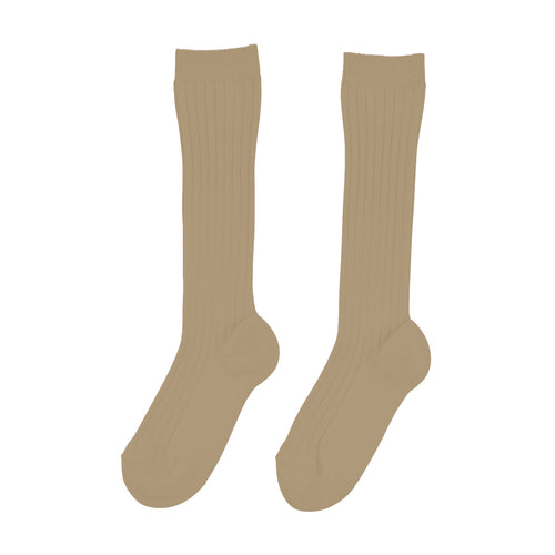 Knee High Ribbed Socks | Camel