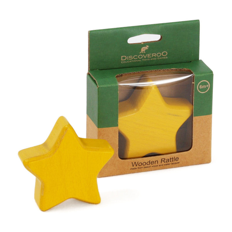YELLOW STAR WOODEN RATTLE