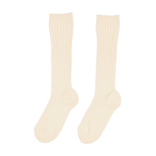 Knee High Ribbed Socks | Linen